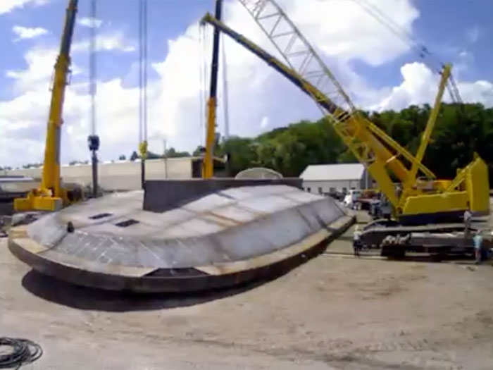 St  Johns Ship Building flips hull for first of two Fisher