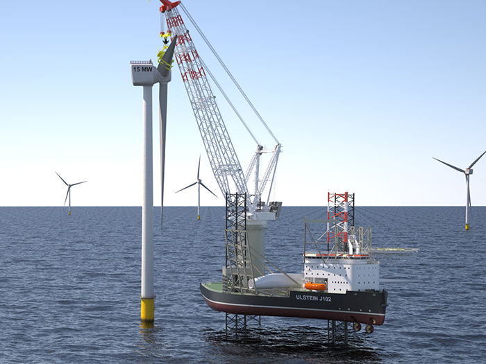 Jack-up vessel at offshore wind farm