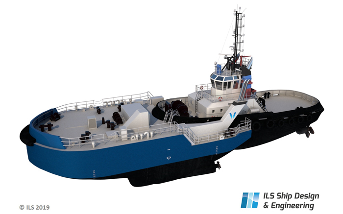 Tug equipped with icebreaker bow
