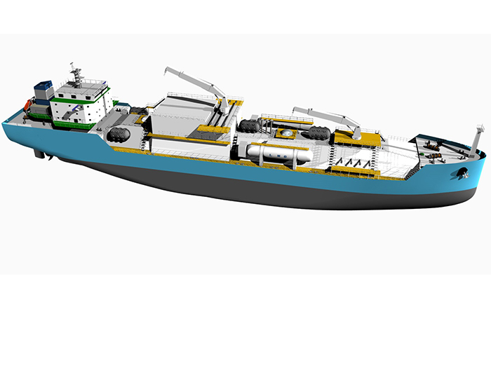 Graphic rendering of ship
