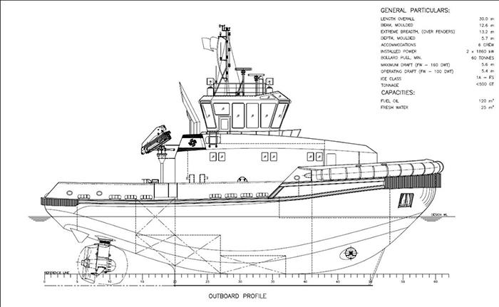 General Arrangement of Svitzer newbuild tug