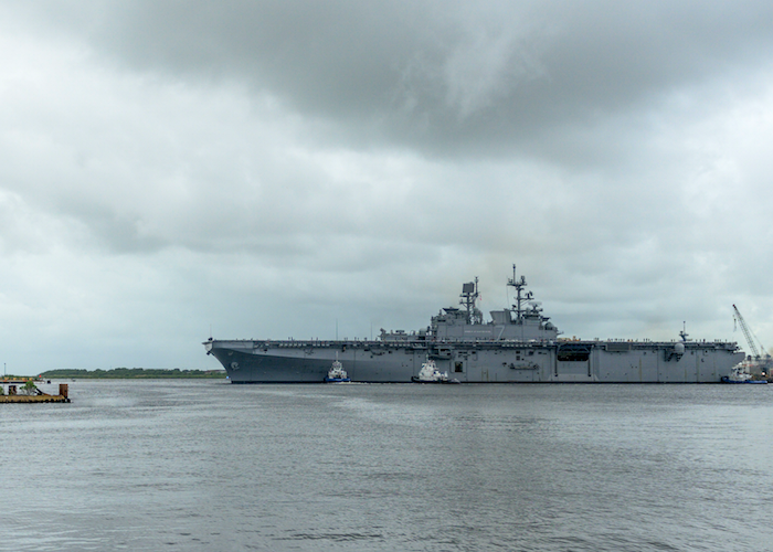 The Navy's newest amphibious assault ship, USS Tripoli (LHA 7), departed from Ingalls Shipbuilding division last month, sailing to its homeport in San Diego. Tripoli enters the Pascagoula River channel passing guided missile destroyer Delbert D. Black (DDG 119), which has been delivered to the Navy by Ingalls, and will sail away later this year.