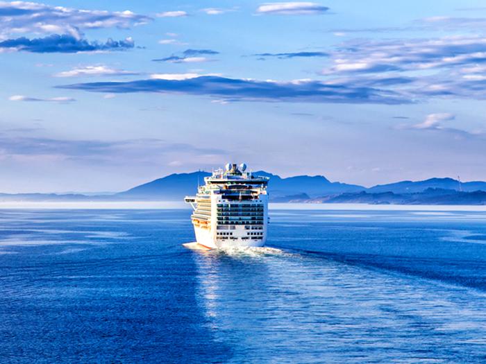 cruise ship setting out to sea