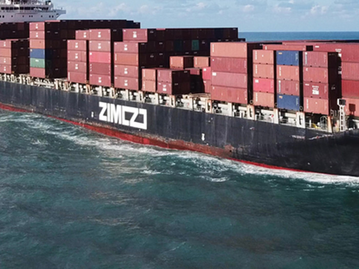 ZIM logo on side of ship