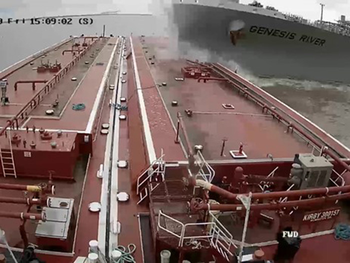 Screen capture from wheelhouse video shows tanker bow as it smashes into barge