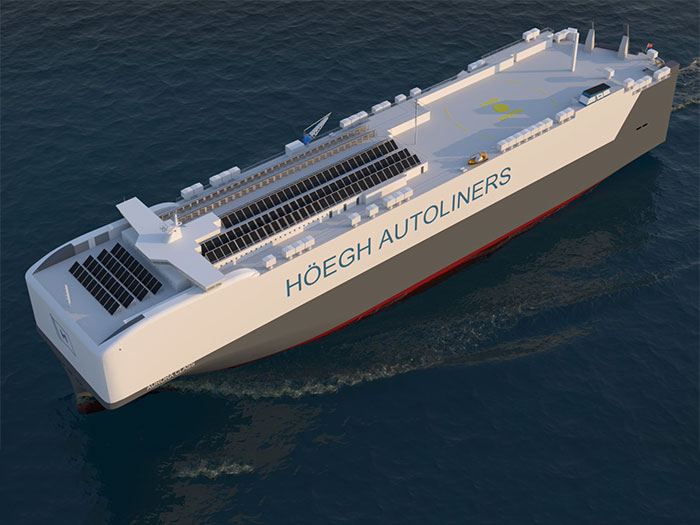 Rendering of car carrier seen from three quarters above