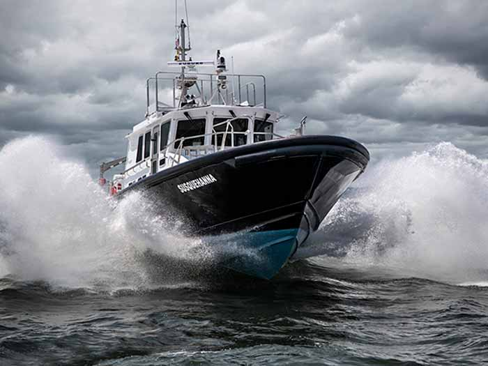 Chesapeake class pilot boat features a deep-V hull designed by Ray Hunt Design