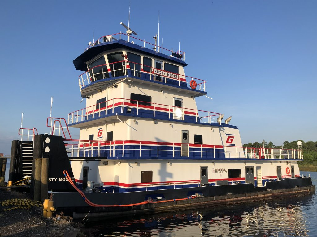The MV Rusty Moore towboat dockside.