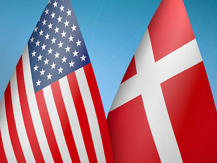 U.S. and Danish flags