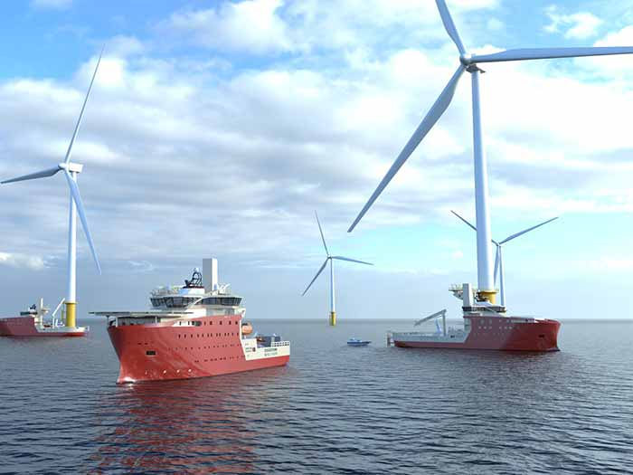 Three vessels near wind turbine
