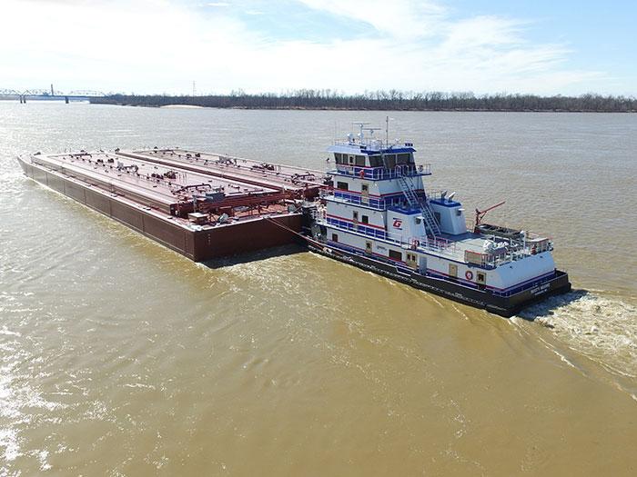 Towboat pushing barge