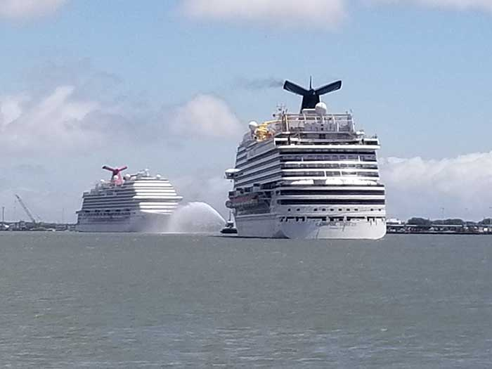 Carnival Breeze and Carnival Victory recently sailed into Galveston