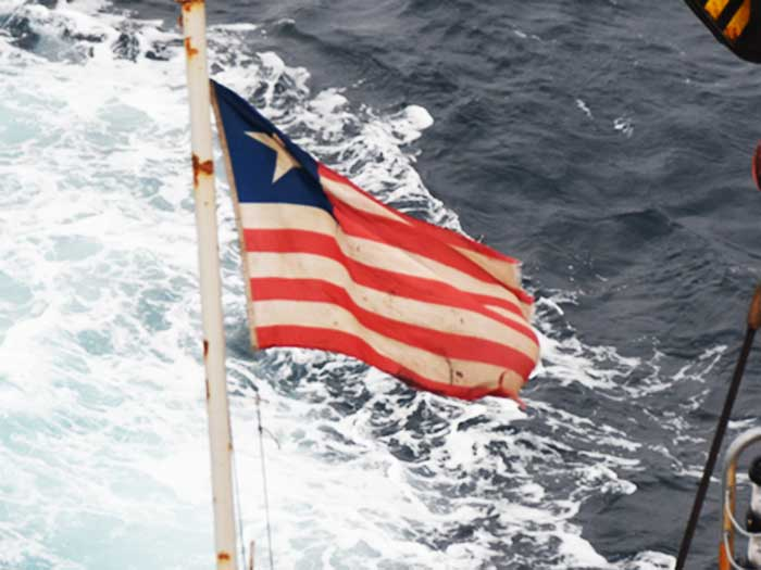 Liberian flag flying on ship