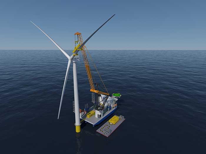 Wind turbine being installed