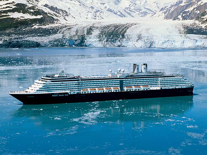 Three Carnival brands plan to resume Alaska cruises in July, including Holland America Line, offering seven-day itineraries aboard Nieuw Amsterdam. [Image: Holland America Line]