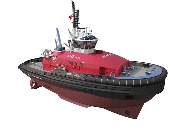 Red escort tug