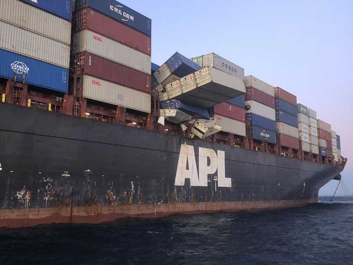 Container stack collapse
