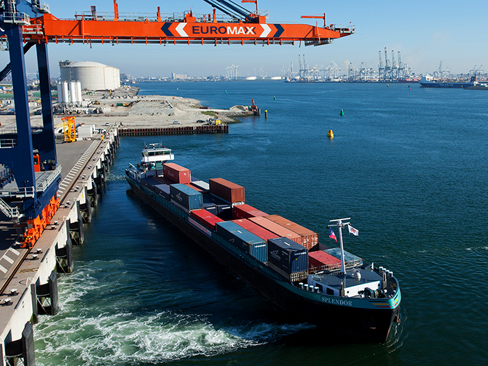 Containers on barge in Port of Rotterdam