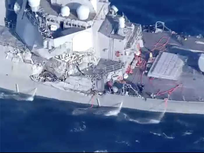 Damage sustained by USS Fitzgerald in collision with containership: Fatigue was identified as one factor in fatal incident