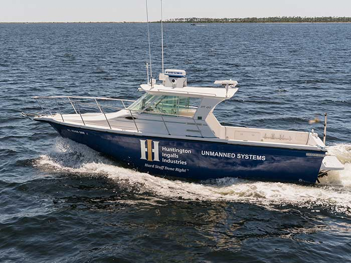 VIDEO: Huntington Ingalls debuts unmanned surface test vessel