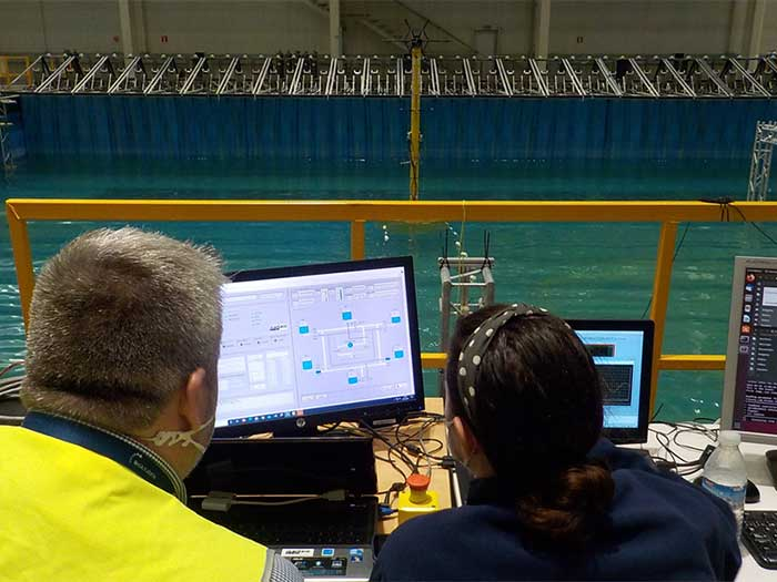 Model tests of Seaplace system were performed at the IH Cantabria offshore basin.