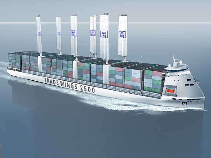 Containership with six wing sails