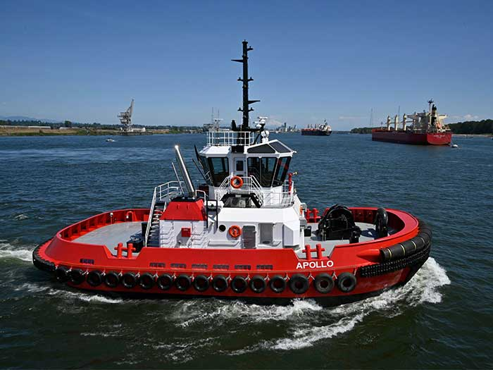 compact red tugboat