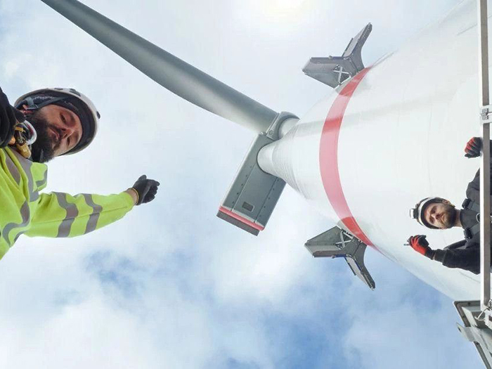 Offshore wind safety training instructor with student