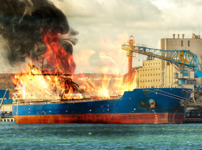 Chemical explosion on cargo ship due to hazardous chemicals