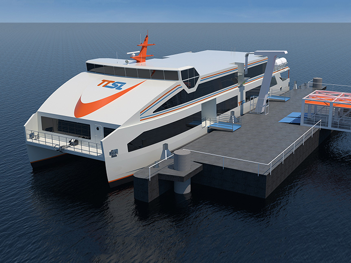 Charging system is centrally located on the vessels, allowing charging on both port and starboard from towers located on the terminal's floating pontoons.