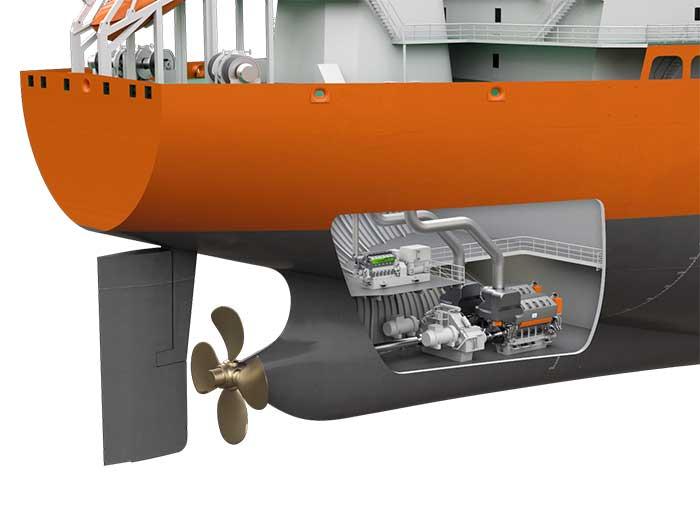 Cut through of ships shows machinery arrangemen