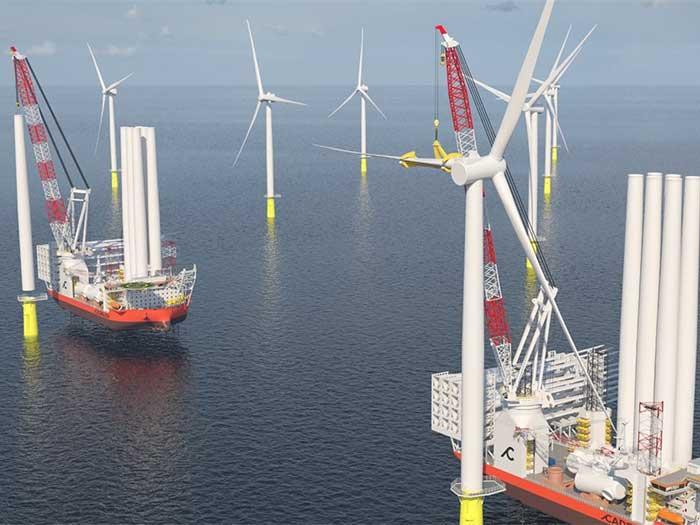 Two windturbine installation vessels