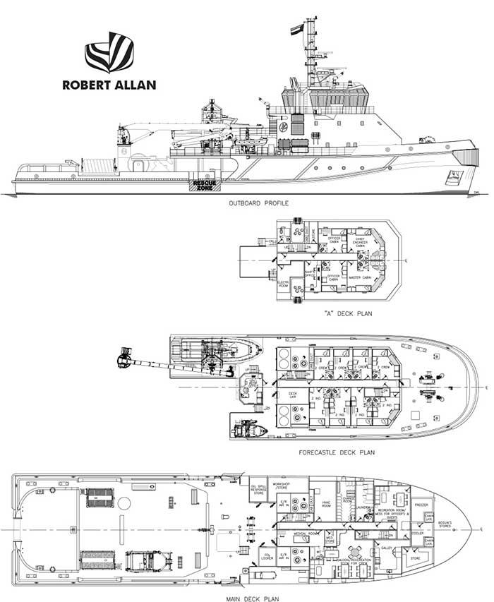 General arrangement of spill response vessel