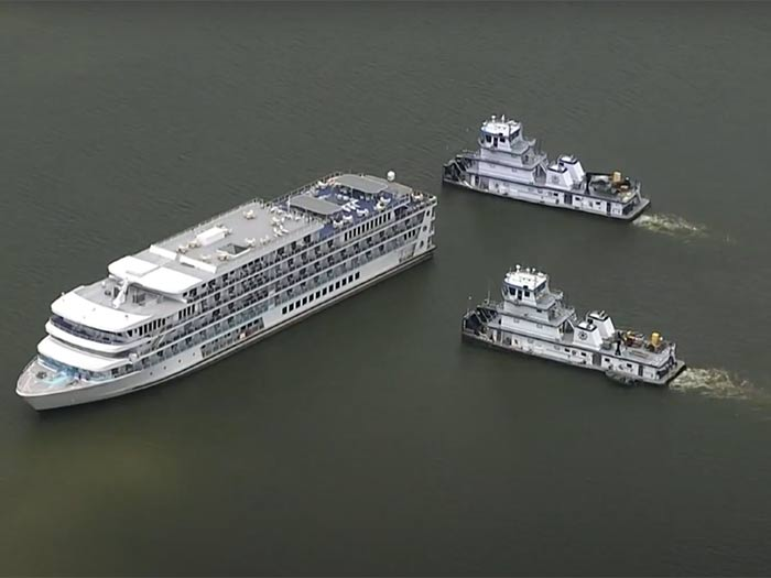 Riverboat with two towboats