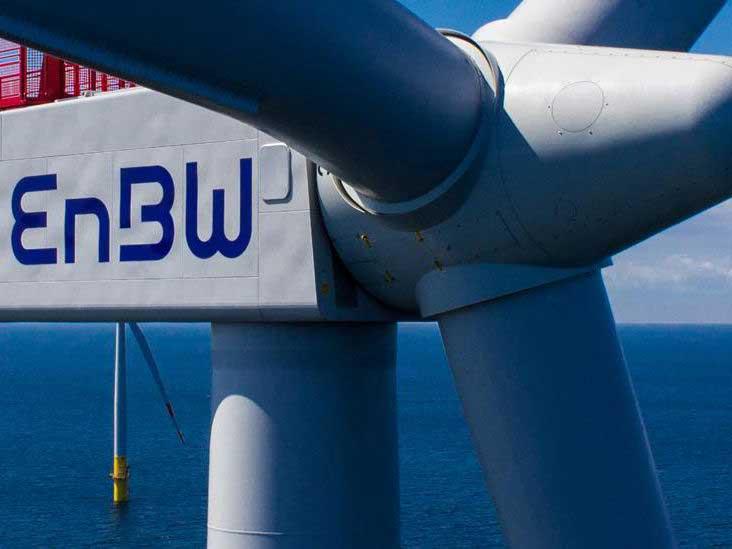 EnBW logo on offshore wind turbine