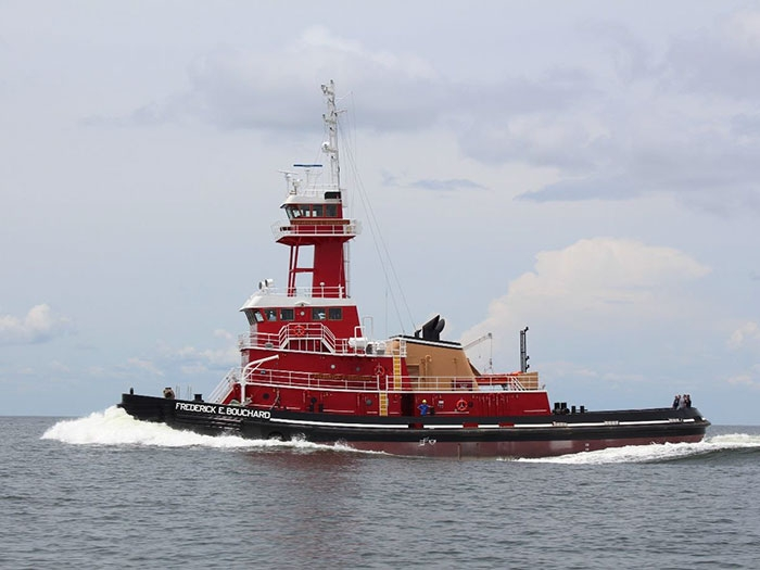 ATB tug Frederick E. Bouchard, seen here on sea trials in 2015, is among vessels listed in filing.