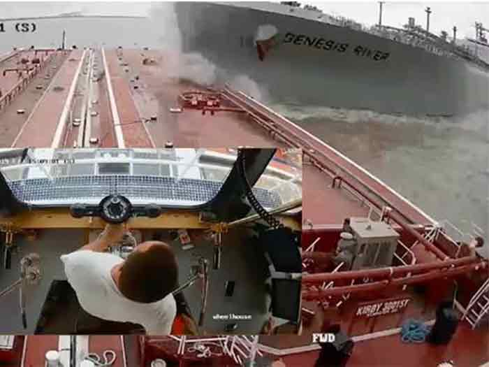 Tanker about to collide with barge