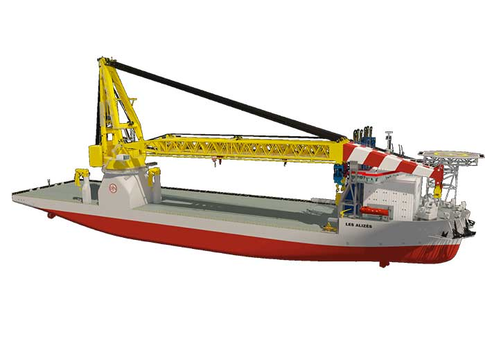 Les Alizés will mainly be used for the construction of offshore wind farms but is also suitable for decommissioning offshore oil and gas platforms.