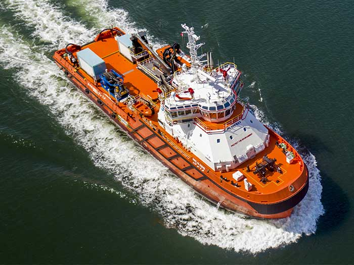 Multipurpose vessel at sea