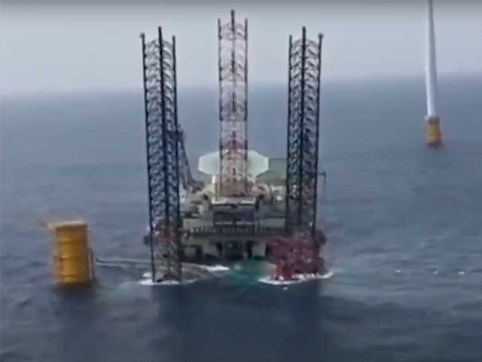 Partially collapsed WITV near offshore wind installation