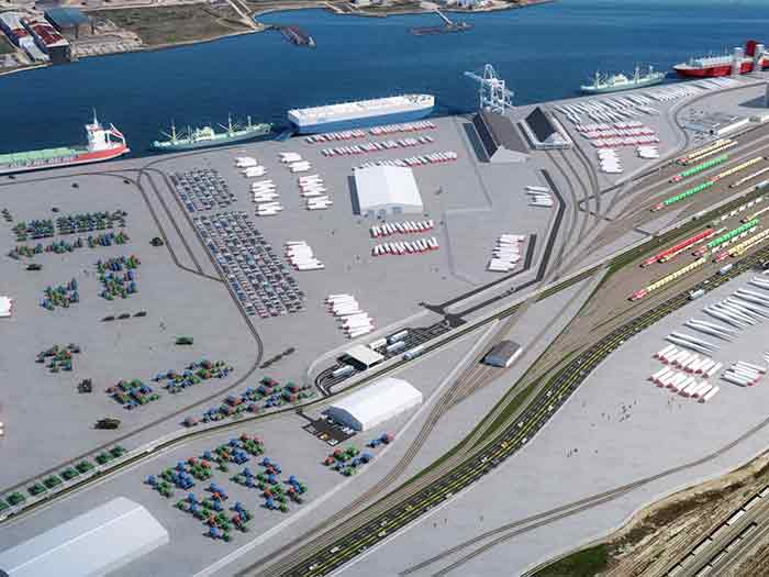 When completed, the Galveston Wharves 70-acre West Port Cargo Complex will include an additional 20 waterfront acres, 2,000 linear feet of docking space, and a rail spur