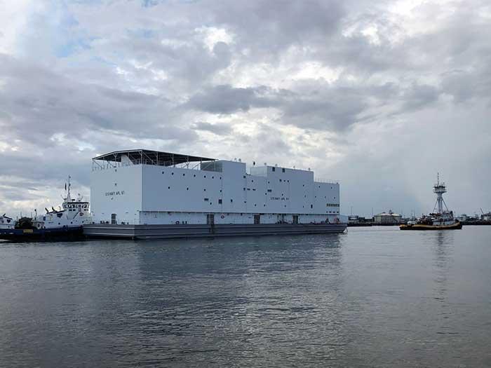Gray berthing barge