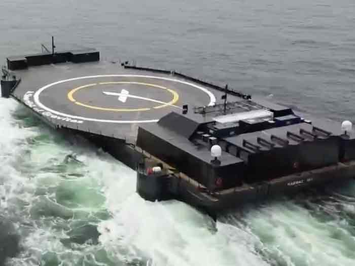 Drone ship was converted from deck barge
