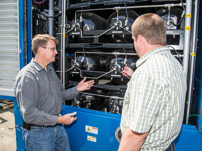ZEI's CEO and CTO Dr. Joseph Pratt, formerly at Sandia National Labs, analyzes the hydrogen storage system found within the fuel cell unit of the Maritime Hydrogen Fuel Cell Generator Project.