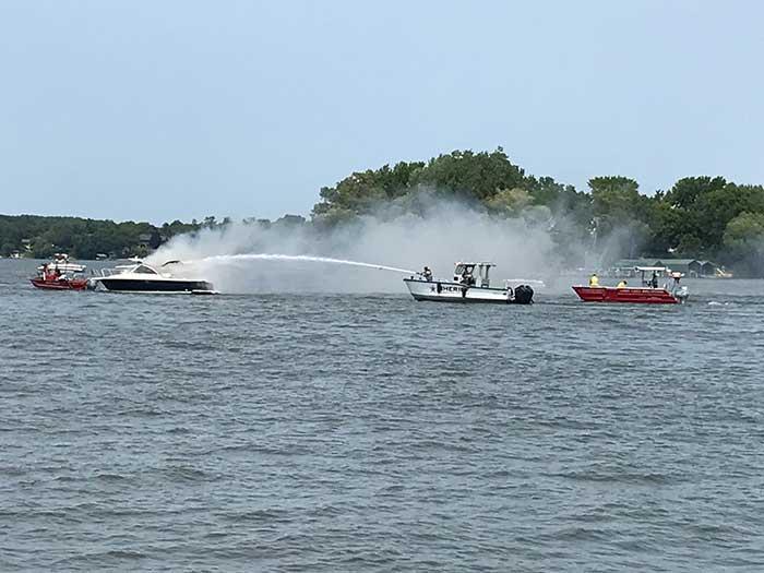 Lake Assault Boats multipurpose boat extinguishes fire