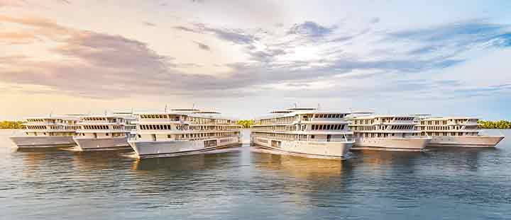 Panoramic view of modern riverboat fleet of six modern riverboats