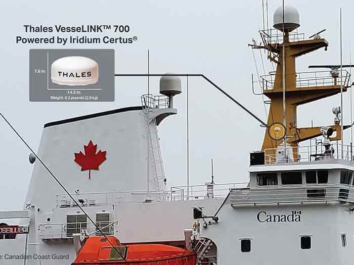 Candian Coast Guard vessel with Iridium solution