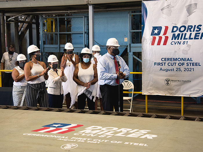 Members of Doris Miller's family attend the ceremonial first cut of steel for the aircraft carrier Doris Miller (CVN 81) at Newport News Shipbuilding division,