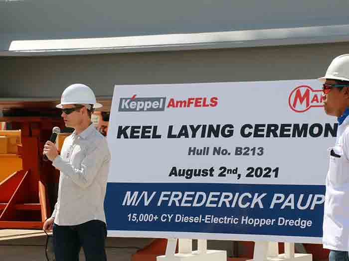 Manson Chairman of the Board and Executive Vice President, Fred Paup, speaks at ceremony marking the laying of the keel of his namesake vessel.