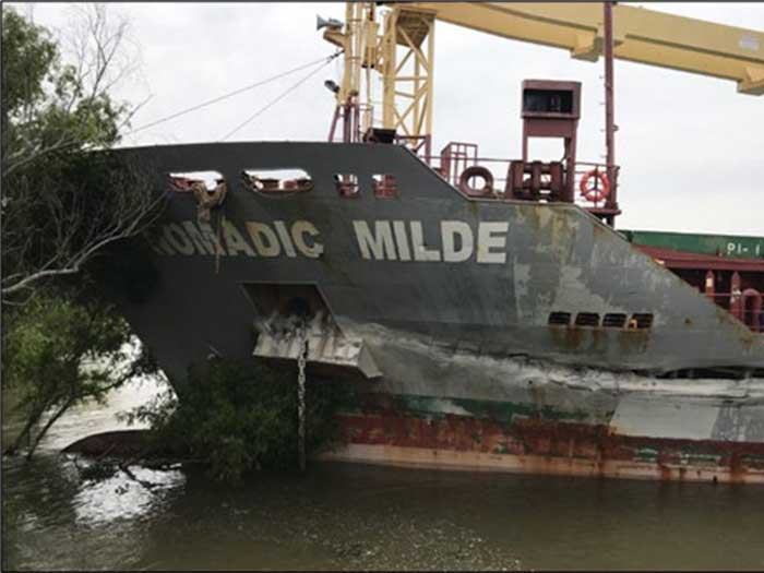 Gash in vessel hull following collision
